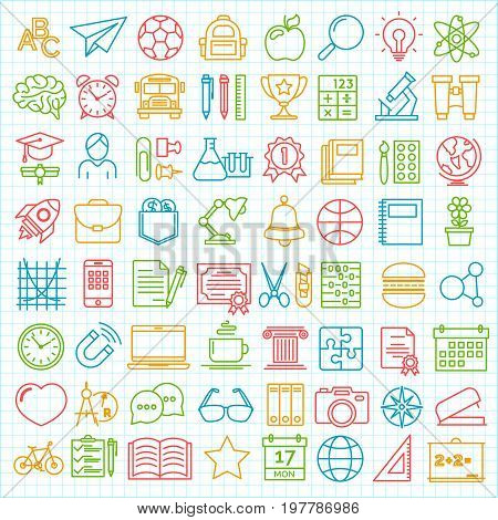 Set of back to school and education modern thin line icons school supplies isolated on checkered background. Back To School Background. Back to school super shopping. Super sale. Vector illustration.