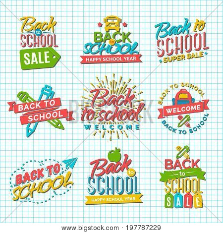 Set of Welcome back to school label with school supplies on checkered background. Back To School Background. Back to school super shopping. Super sale. Vector illustration.