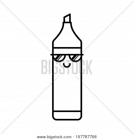 highlighter pen kawaii character vector illustration design