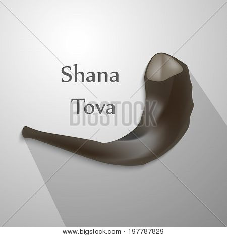 illustration of shofar with shana tova text on the occasion of Jewish New Year Shanah Tovah