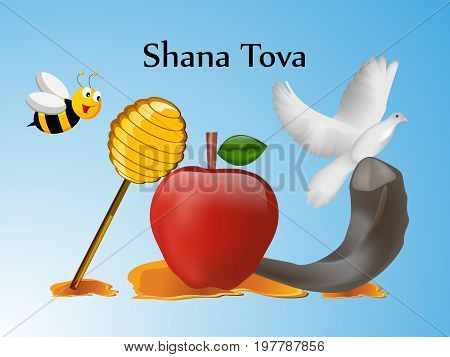 illustration of bee, pigeon, honey, apple, shofar with shana tova text on the occasion of Jewish New Year Shanah Tovah
