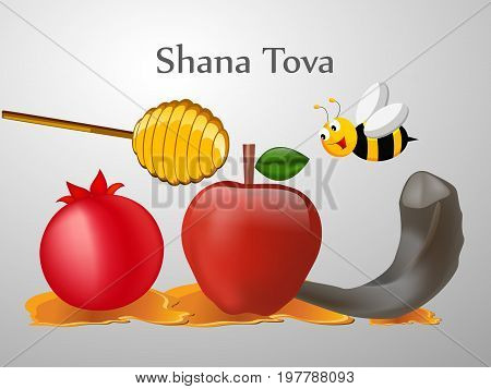 illustration of bee, honey, apple, pomegranate and shofar with shana tova text on the occasion of Jewish New Year Shanah Tovah