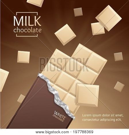 Chocolate Package Bar Blank - White Milk, Pieces on Brown background and Mint Feaf. Vector 3d illustration with Open Paper Pack.
