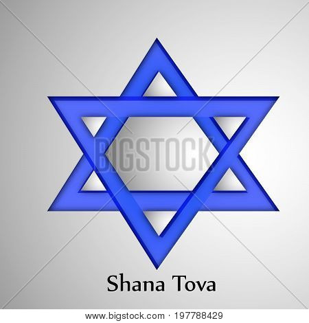 illustration of star with shana tova text on the occasion of Jewish New Year Shanah Tovah. Translation: a good year