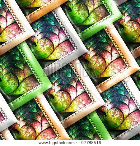 3D Render Of Colorful Plastic Stamp Fractal Tile