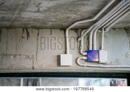 electrical junction box with PVC conduit pipe connection