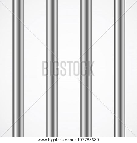 Vector Steel Prison or Jail Bars Isolated on White. 3d illustration. Punishment or Out of Freedom Concept
