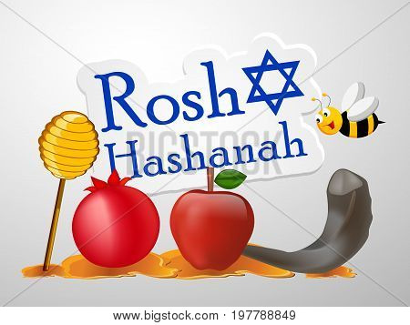 illustration of bee, pigeon, honey, apple, pomegranate, shofar with Rosh Hashanah text on the occasion of Jewish New Year
