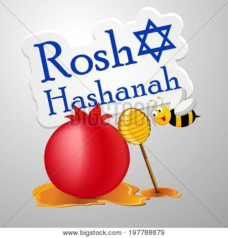 illustration of bee, honey, pomegranate with Rosh Hashanah text on the occasion of Jewish New Year Shanah Tovah. Translation: