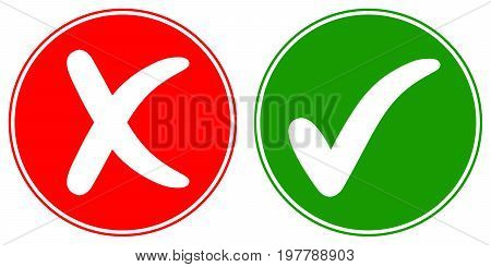 Icons Check mark tick and Cross Cancel, vector concept words OK and NO approved and rejected sign