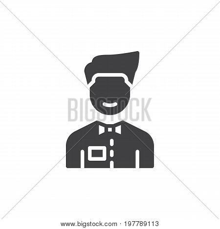 Person with bow tie icon vector, filled flat sign, solid pictogram isolated on white. Waiter symbol, logo illustration. Pixel perfect vector graphics