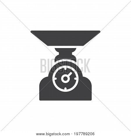 Analog food scale icon vector, filled flat sign, solid pictogram isolated on white. Libra symbol, logo illustration. Pixel perfect vector graphics