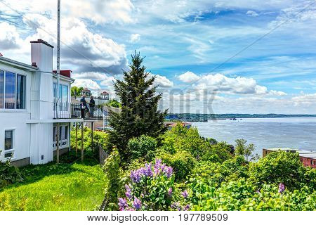 Levis, Canada - June 4, 2017: Riverside Or Riverfront Residential Houses With View Overlooking Saint
