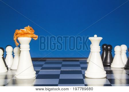 Chess As A Policy. White Figure With Red Hair With A Team Against A White Figure With A Team.