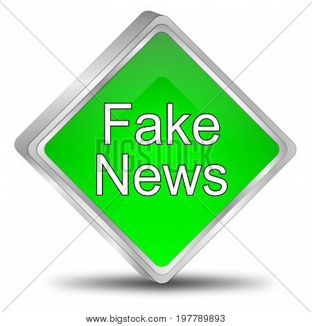 green Fake News button - 3D illustration