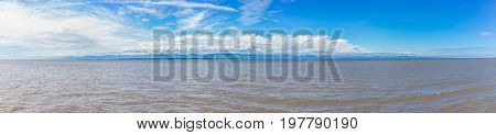 Panorama of Saint Lawrence river on south shore of Quebec with view of L'isle-aux-grues