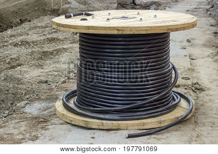 Industrial Underground Cable On Large Wooden Reel