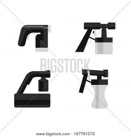 Vector illustration with tan spray machines set on white isolated background