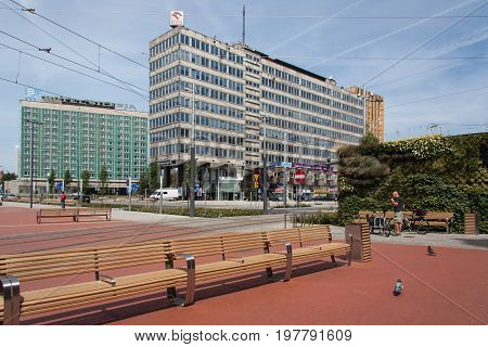 Katowice, Poland - July 10, 2016: View on Korfantego Avenue and part of market. In the background Hotel Silesia.
