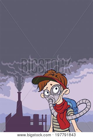 Environmental pollution poster. Cloud of smoke from a factory chimney and man in the gas mask. Post-apocalyptic landscape. Vector illustration with copy space.