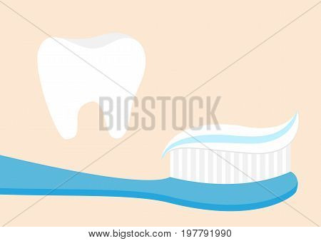 Healthy tooth icon set. Toothbrush with toothpaste. Brushing teeth Oral dental hygiene Brush paste. Baby health care. Isolated. Beige background Flat design Vector illustration