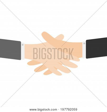 Handshake icon. Two businessman hands arms reaching to each other. Shaking hands. Close up body part. Helping hand. Business deal partnership concept. White background Isolated. Flat design. Vector