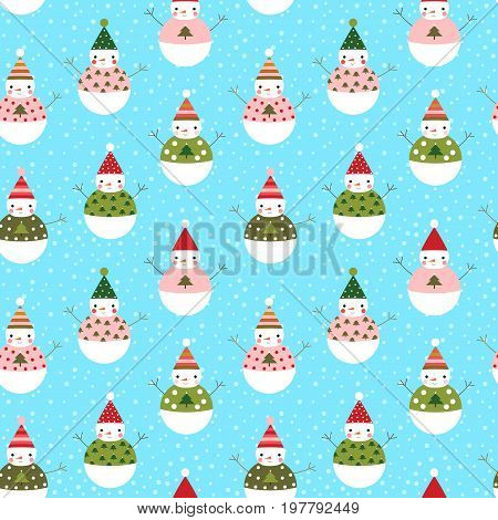 Cute vector seamless pattern with snowmen with hats for winter and Christmas designs and wrapping paper