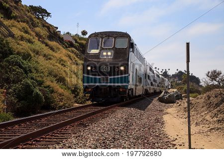 Train Moves Along Tracks That Run Through San Clemente State Beach