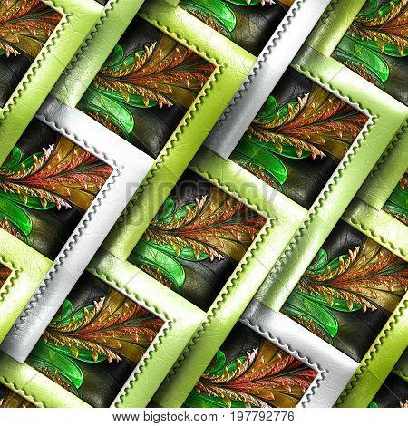 3D render of colorful plastic stamp fractal tile embossed on leather