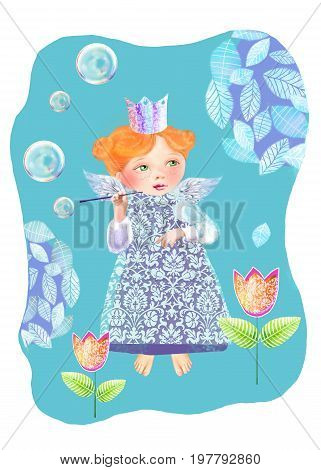A little princess among the flowers blowing soap bubbles. Cute fairy blows soap bubbles in the garden.