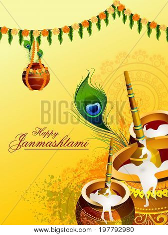 easy to edit vector illustration of Happy Krishna Janmashtami Dahi Handi meaning cream and pot background