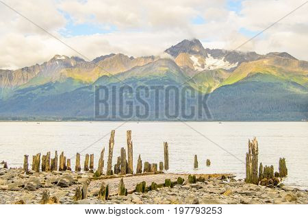 A view of a ruined boat dock in Seward Alaska