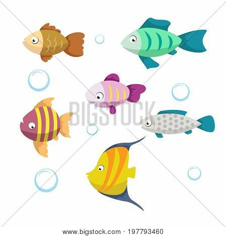 Cute coral reef fishes vector illustration icons set. Collection of funny colorful fish. Vector isolated cartoon characters.