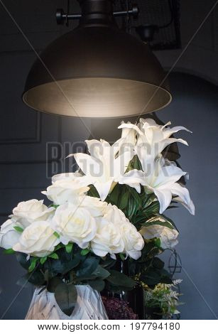 White lily flower decorated on vase stock photo