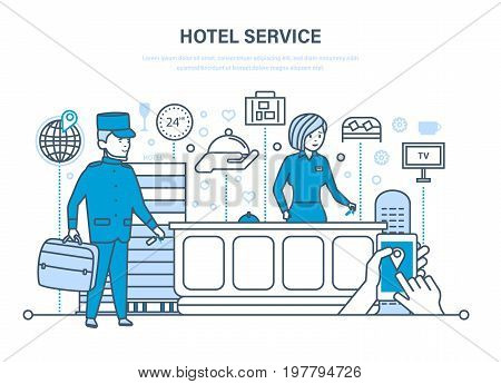 Hotel service. People working in hotel, staff. Service, reception. Character porter, receptionist, tourism element. Illustration thin line design of vector doodles, infographics elements.