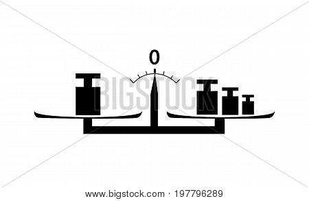 Flat Black weighting machine with Weights on white background isolated.