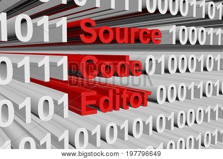 Source code editor in the form of binary code, 3D illustration