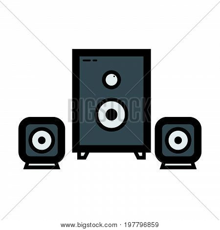 Simple flat color sound system icon vector