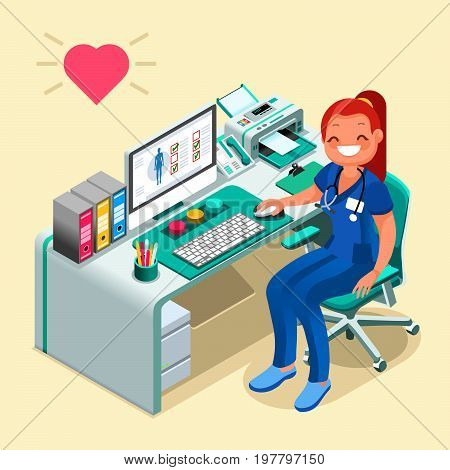Female doctor or nurse cartoon isometric people computer for hospital technology healthcare concept vector illustration
