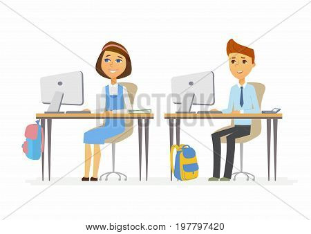Computer studies - modern vector illustration of happy teenage senior school children working at the PCs. Boy and girl studying in classroom, having online lesson, courses, webinar