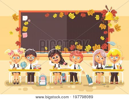 Stock vector illustration back to school cartoon characters schoolboy schoolgirls pupils apprentices studying in classroom happy classmates sitting at staple on autumn blackboard background flat style.