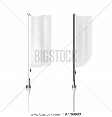 Two White Vertical Banner Flags Clean Background Eps 10 Illustration Design