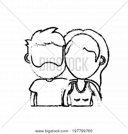 figure couple lover together with hairstyle design vector illustration
