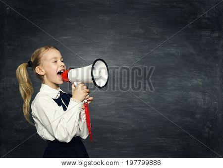 Child Girl Megaphone Announcement School Kid Announce Scream Speaker over Blackboard