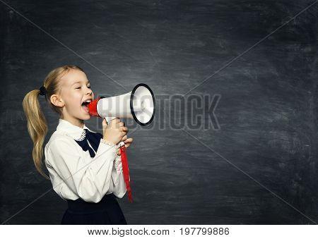 Child Girl Megaphone Announcement School Kid Announce Scream Speaker over Blackboard