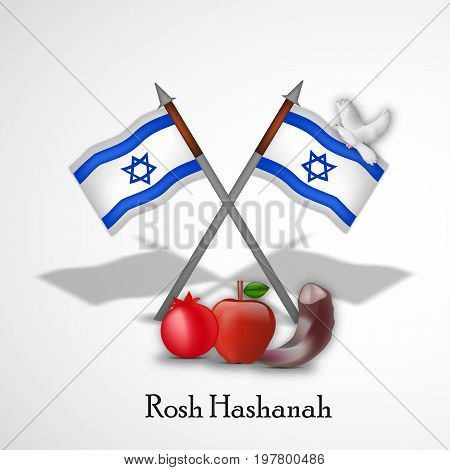 illustration of Israel flags, pigeon, apple, pomegranate, shofar with Rosh Hashanah text on the occasion of Jewish New Year Shanah Tovah. . Translation: a good yeara