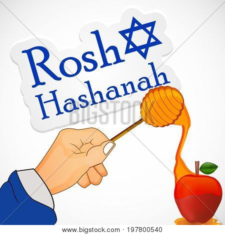 illustration of hand, honey and apple with Rosh Hashanah text on the occasion of Jewish New Year Shanah Tovah. Translation: a good year
