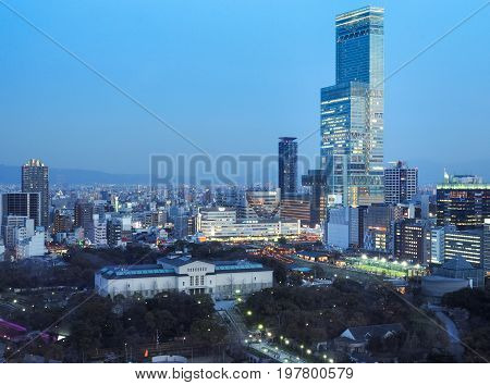 OSAKA, Japan - April 4, 2017 : Abeno District with Abeno Harukas, the tallest office building in the country.