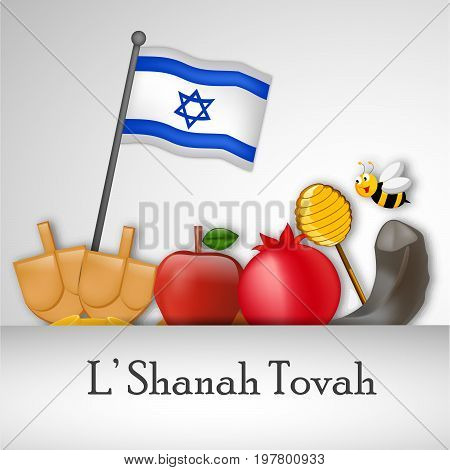 illustration of Israel flag, bee, honey, apple, pomegranate, shofar with L'shanah tovah text on the occasion of Jewish New Year Shanah Tovah. Translation: a good year