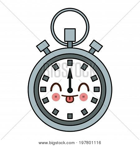 kawaii stopwatch chronometer timer countdown time sport vector illustration